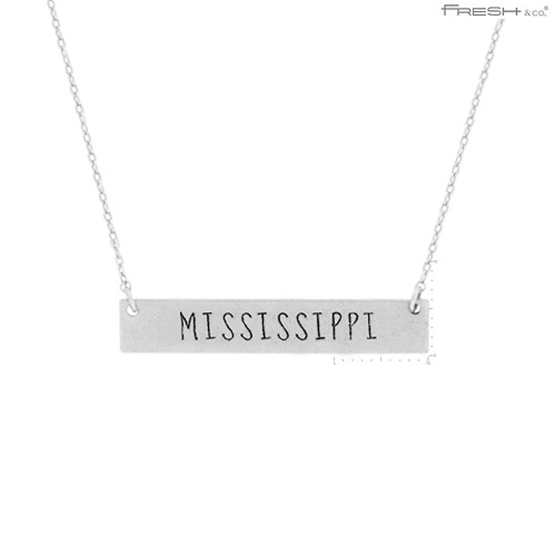 MISSISSIPPI State Map Pendant Necklace