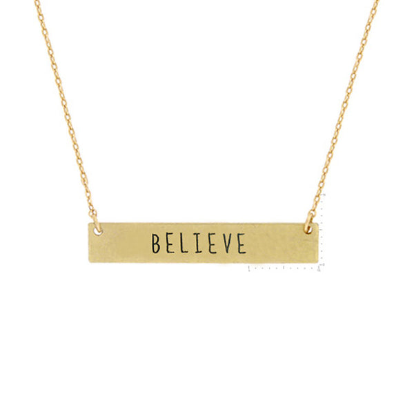 BELIEVE Message Pendant Necklace