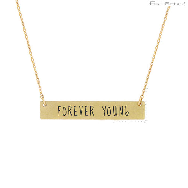 FOREVER YOUNG Message Pendant Necklace