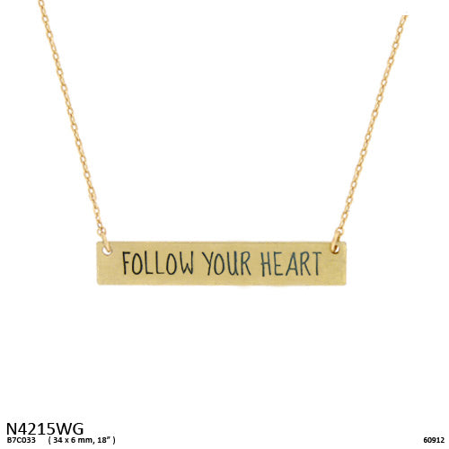 FOLLOW YOUR HEART Message Pendant Necklace