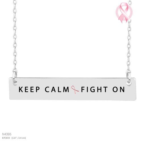 KEEP CALM FIGHT ON-Message Pendant Necklace