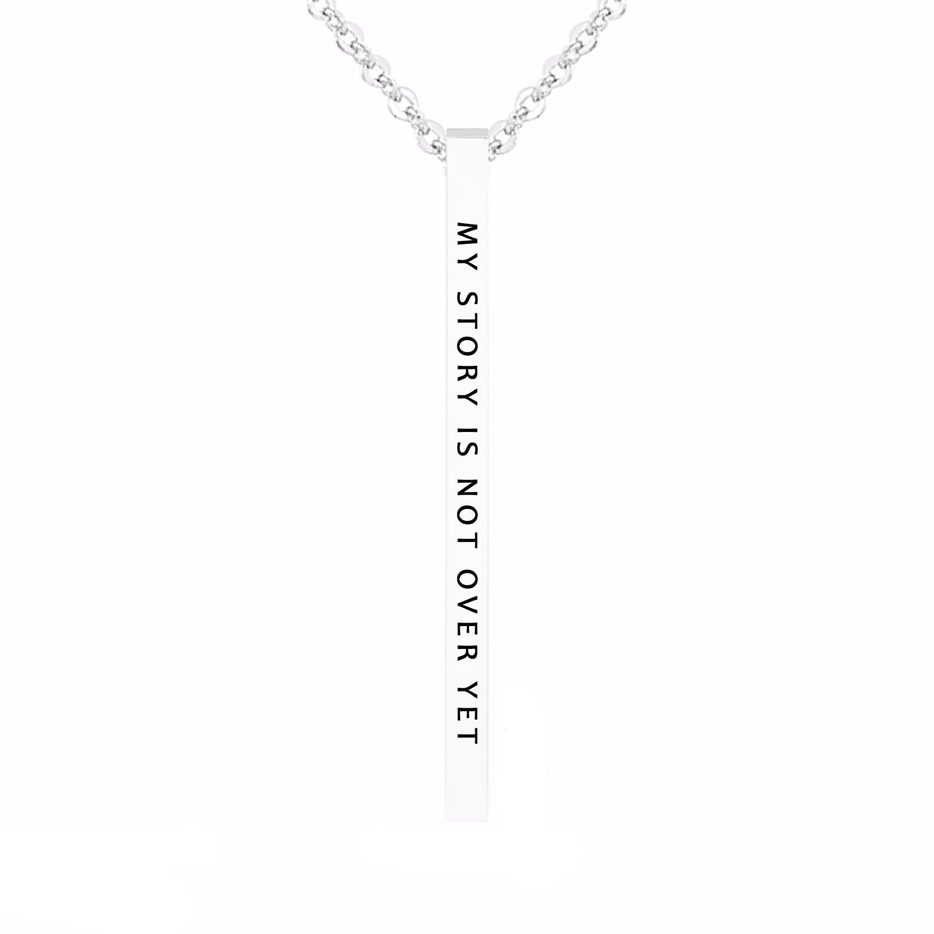 My Story is Not Over Yet - Inspirational Message Brass Pendant Necklace