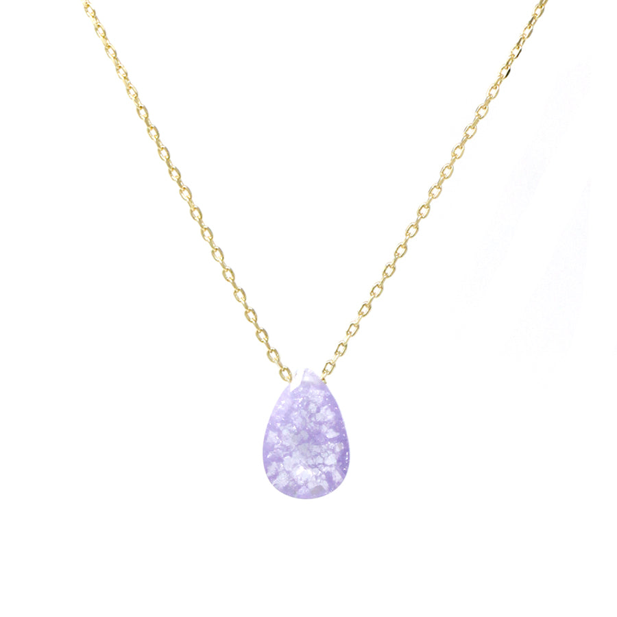 Semi Precious Stone Tear Drop Pendant Short Necklace