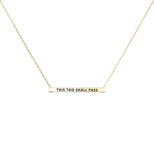 THIS TOO SMALL PASS Inspirational Message Pendant Short Necklace