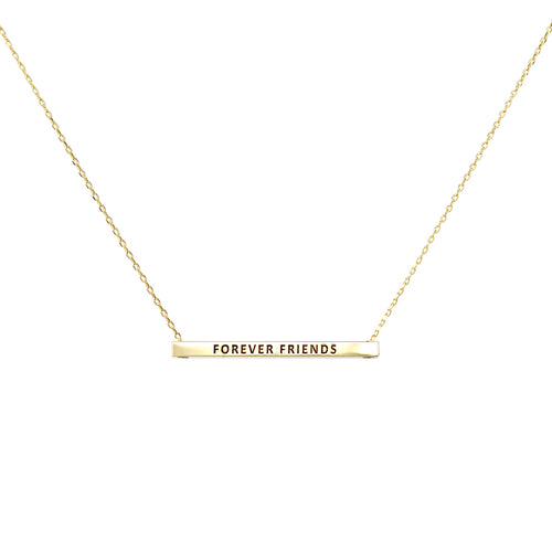FOREVER FRIENDS Inspirational Message Pendant Short Necklace