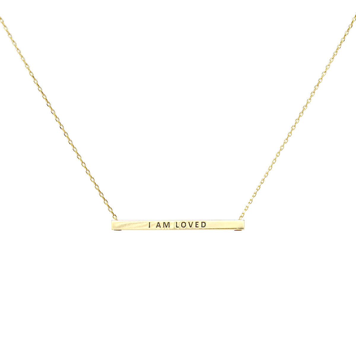 I AM LOVED Inspirational Message Pendant Short Necklace