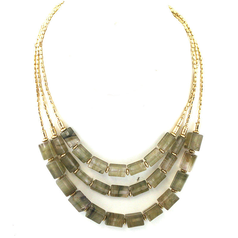 Multi Strands Resin Beads Necklace