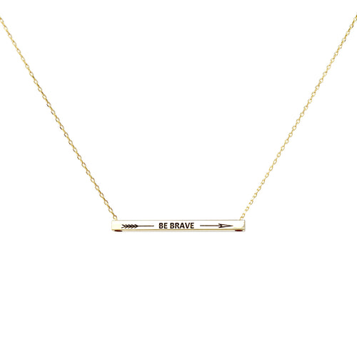BE BRAVE With Arrow Inspirational Message Pendant Short Necklace