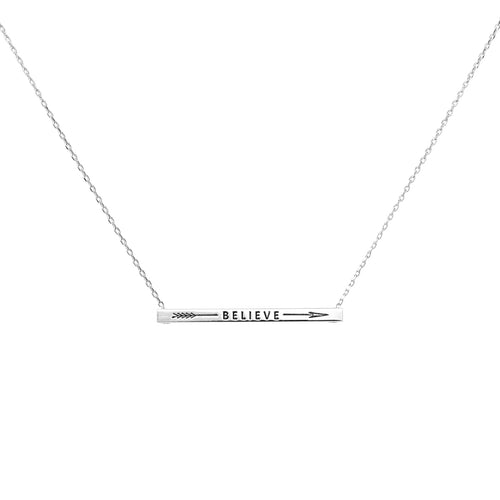 BELIEVE With Arrow Inspirational Message Pendant Short Necklace