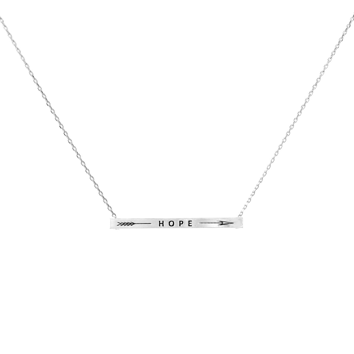 HOPE With Arrow Inspirational Message Pendant Short Necklace