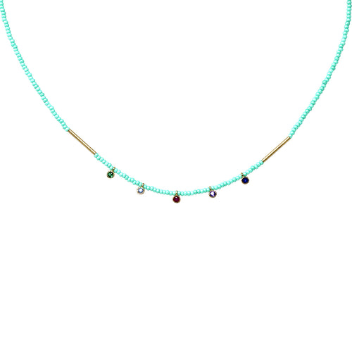 Glass Stone Dangle Seed Bead Short Necklace
