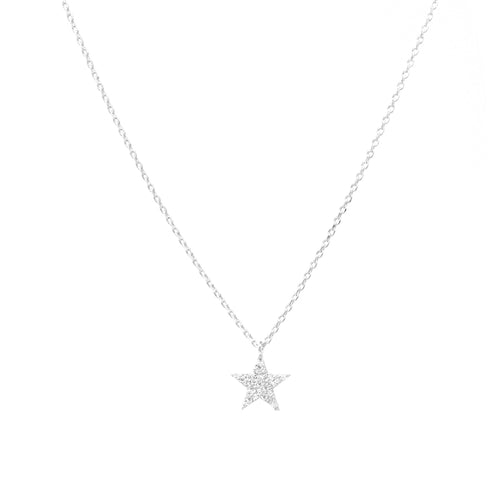 Gold Dipped Cubic Zirconia Pave Star Pendant Short Necklace