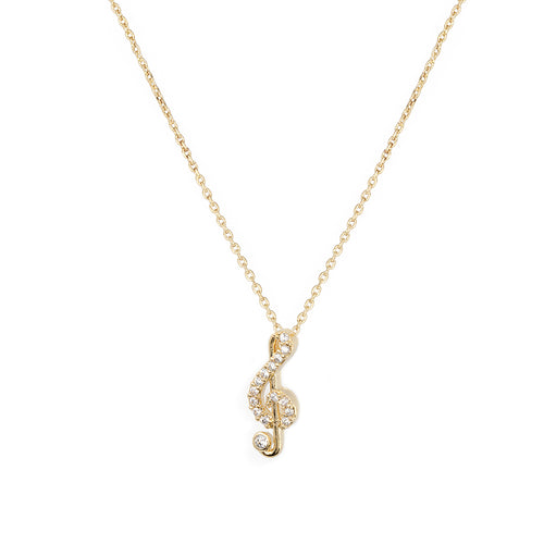 Musical Note Premium Cubic Zirconia Delicate Chain Necklace