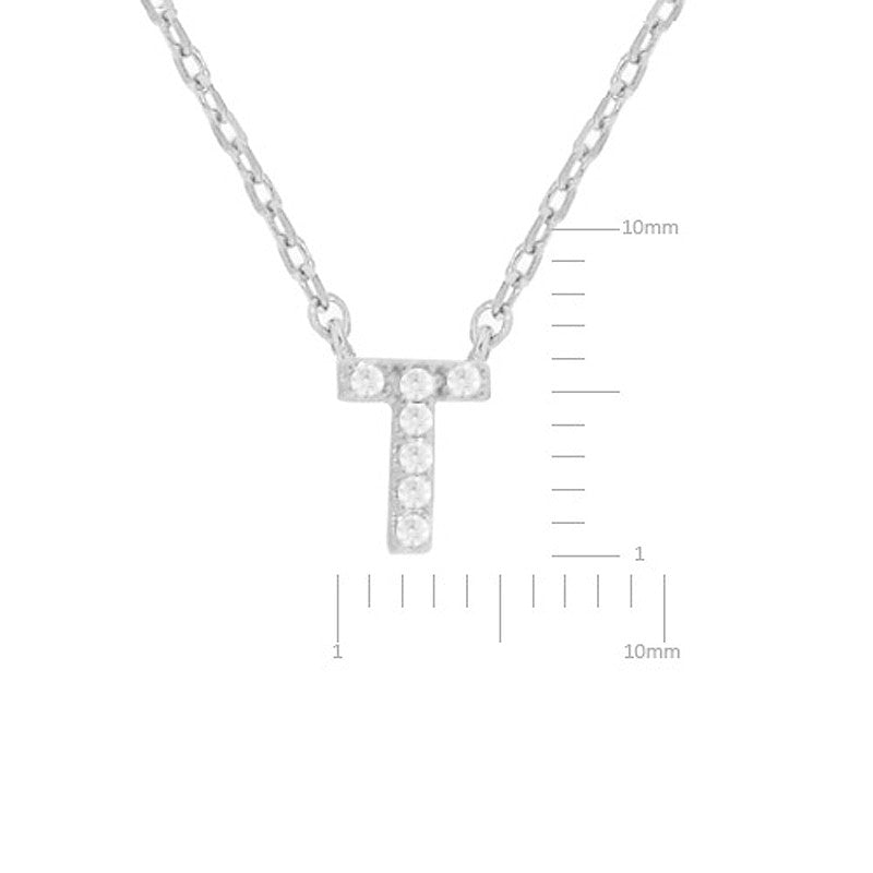 Cubic Zirconia Initial Necklace - T