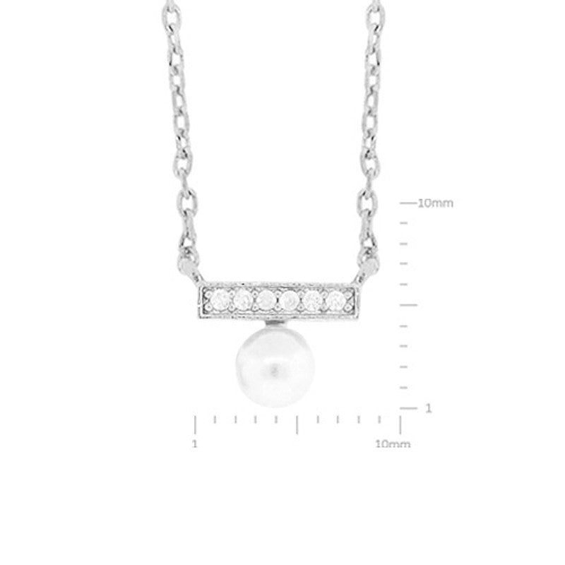 Cubic Zirconia and Pearl Pendant Brass Necklace