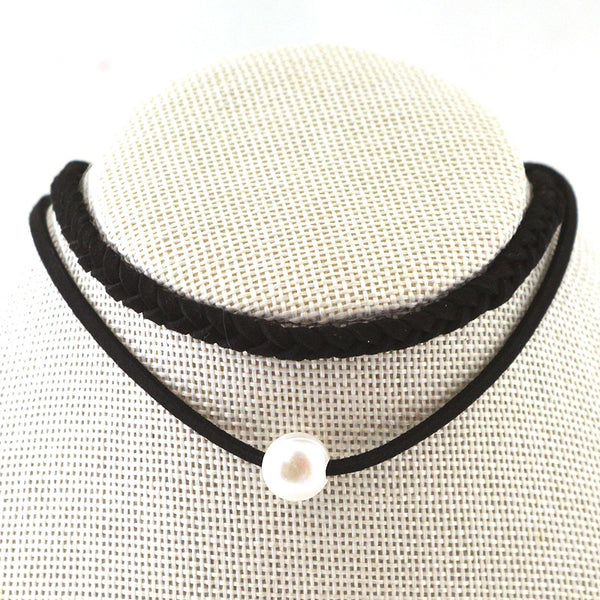 Double Strands Braided Pearl Choker