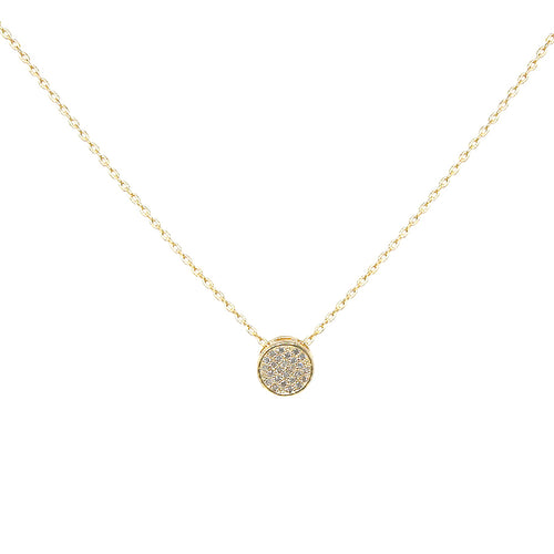 Cubic Zirconia Paved Mini Round Pendant Short Necklace