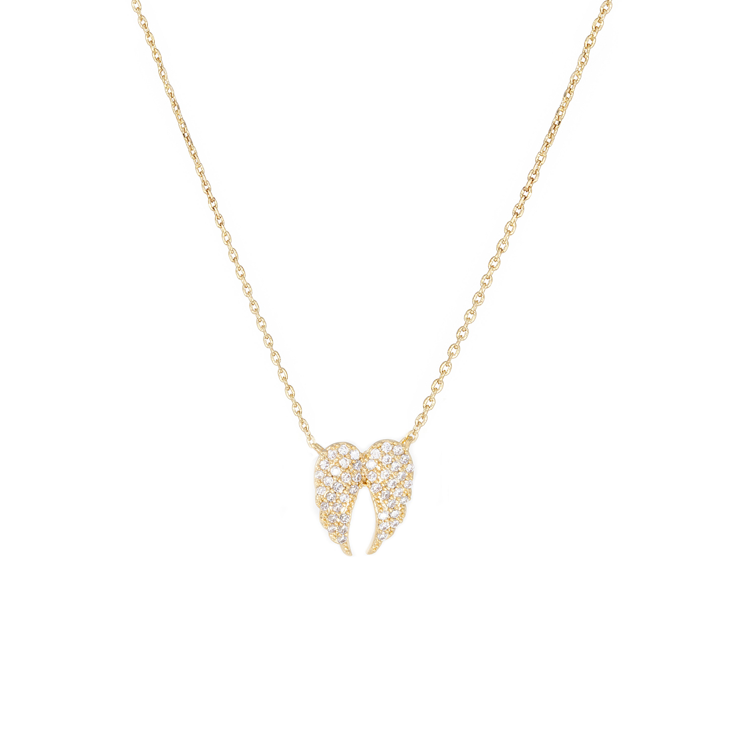 Angel Wings Premium Cubic Zirconia Delicate Chain Necklace