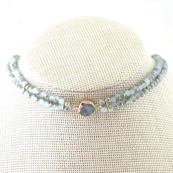 Druzy Stone with Double Glass Beads Strands Choker