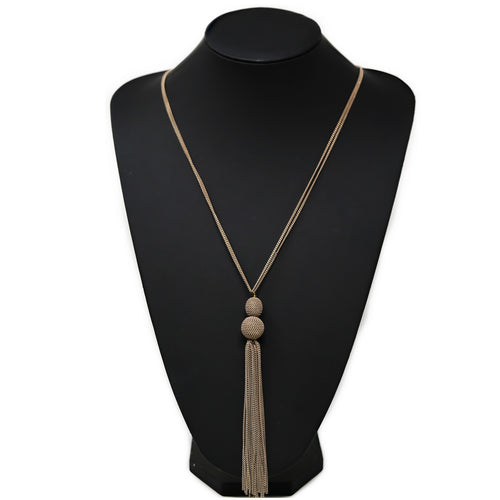 Chain Wrapped Double Ball With Tassel Long Necklace