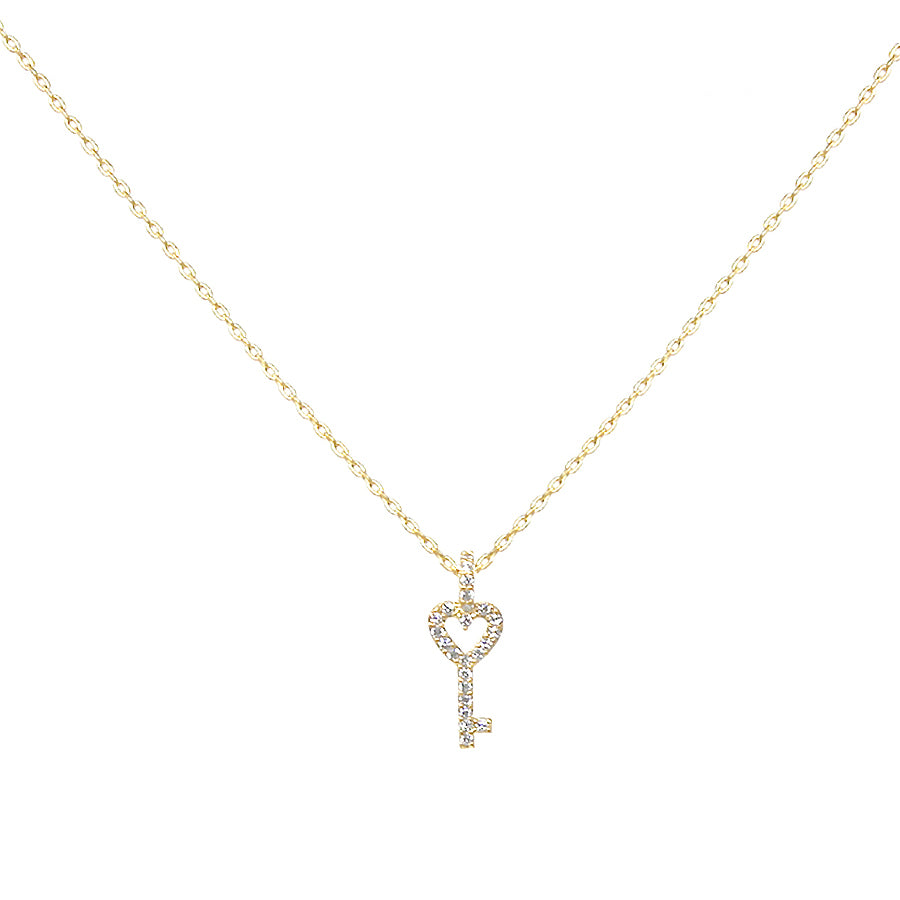 Cubic Zirconia Pave Mini Key Pendant Short Necklace