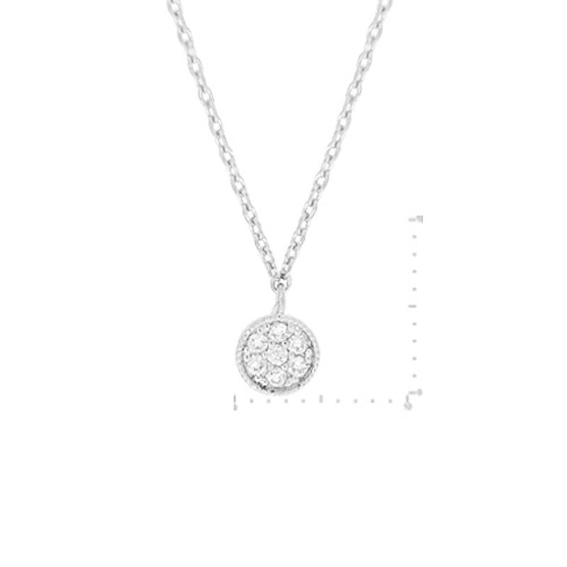 Cubic Zirconia Round Pendant Brass Necklace