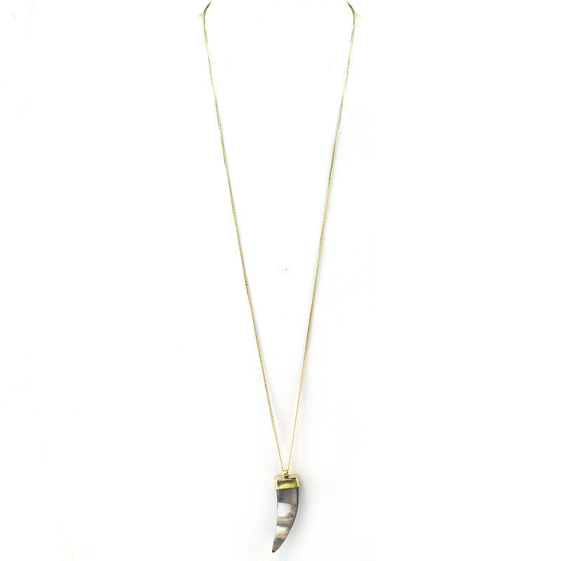 Nacre Decor Horn Pendant Long Necklace