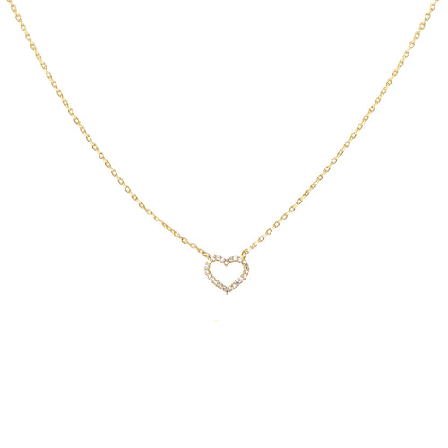 Cubic Zirconia Paved Mini Heart Pendant Short Necklace