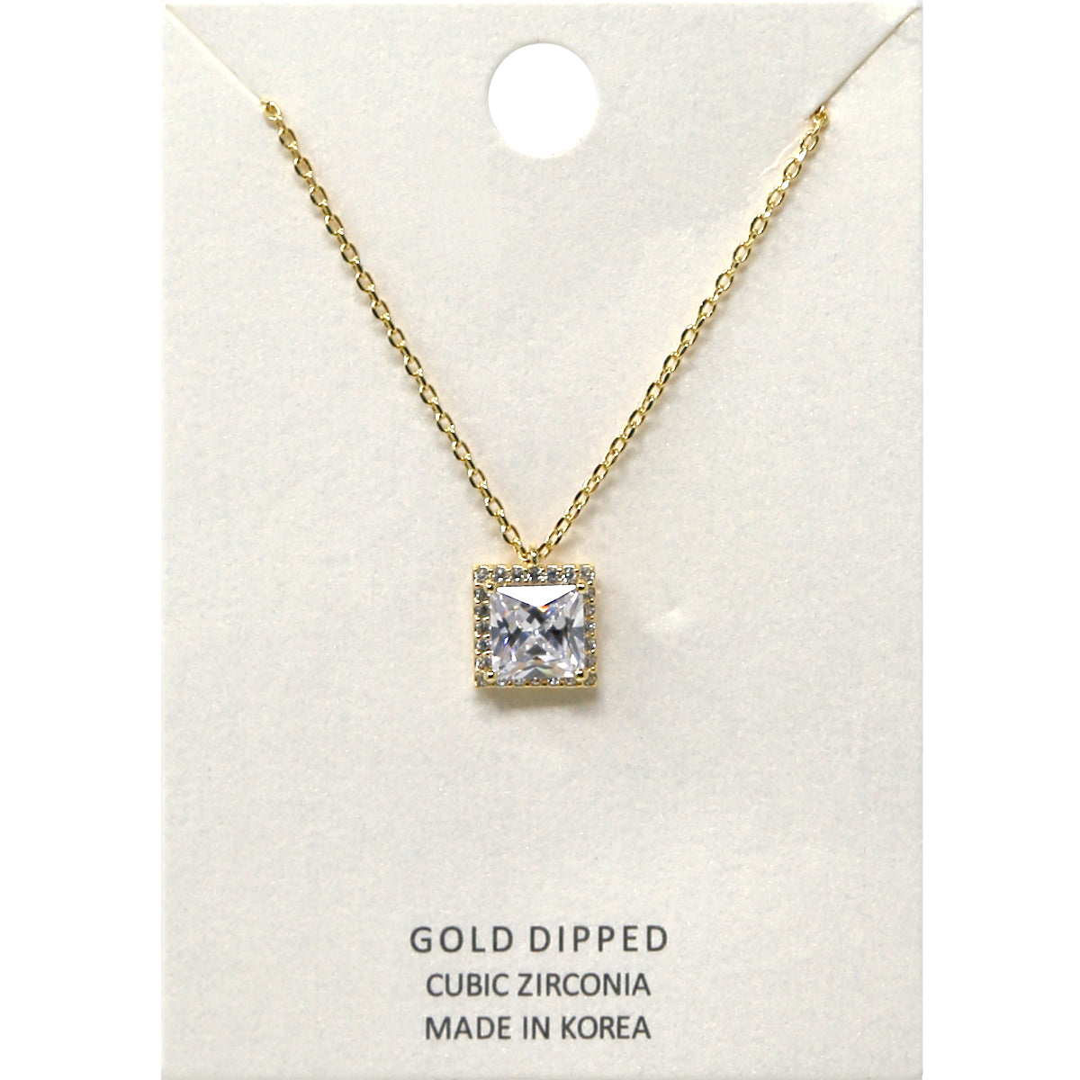Square Cubic Zirconia Pendant Short Necklace