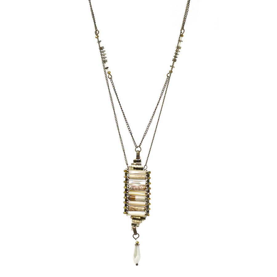 Natural Stone With Glass Stone Drop Double Layered Necklace