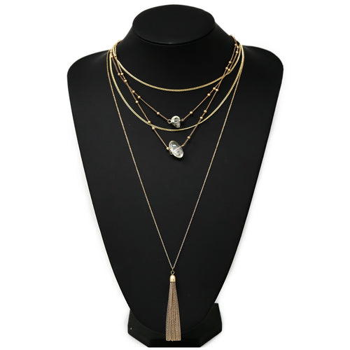 Glass Stone Charm And Chain Tassel Long Layered Necklace