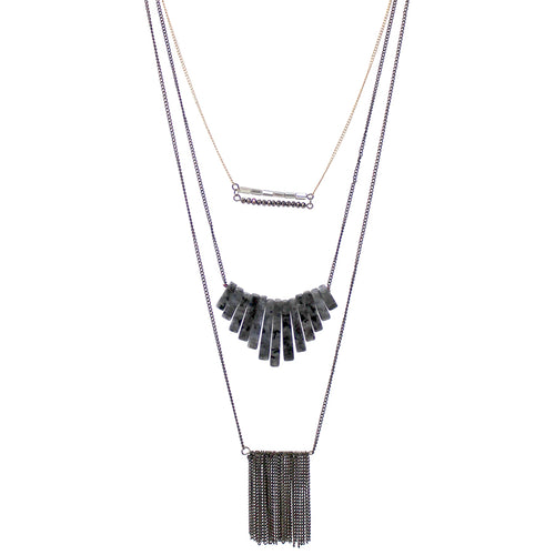 Natural Stone Bar And Chain Fringe Triple Layered Necklace