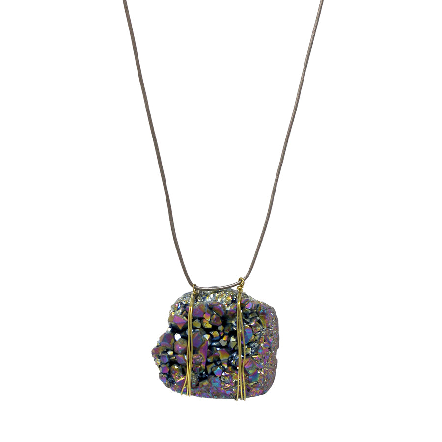 Chunky Druzy Stone Pendant With Genuine Leather Necklace