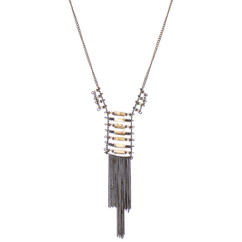 Natural Stone Bar With Tassel Fringe Long Necklace