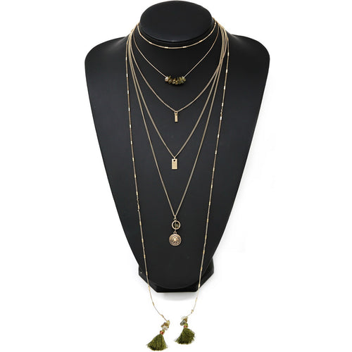 Multi Charm Layered Long Necklace With Tassels