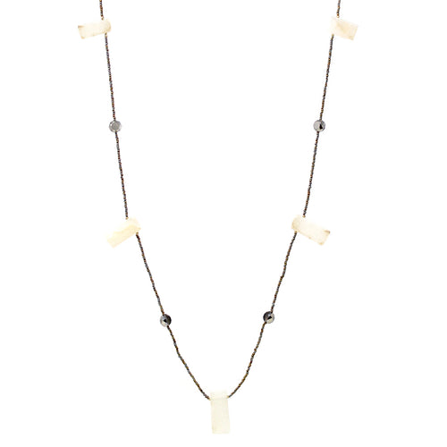 Natural Stone Bar With Glass Stone Station Long Necklace