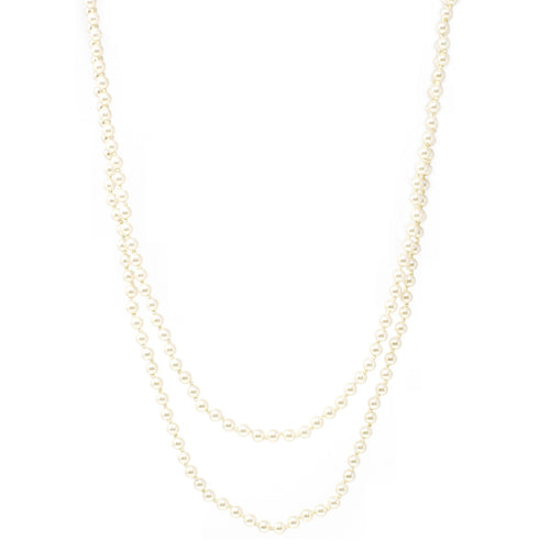 Cream Pearl Beaded Long Necklace