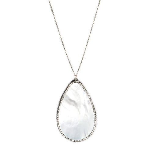 Sea Inspired Mother Of Pearl Teardrop Pendant Long Necklace
