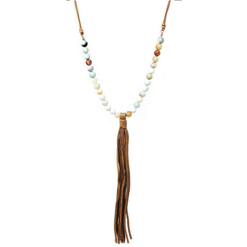 Genuine Leather Tassel Natural Stone Beaded Long Necklace