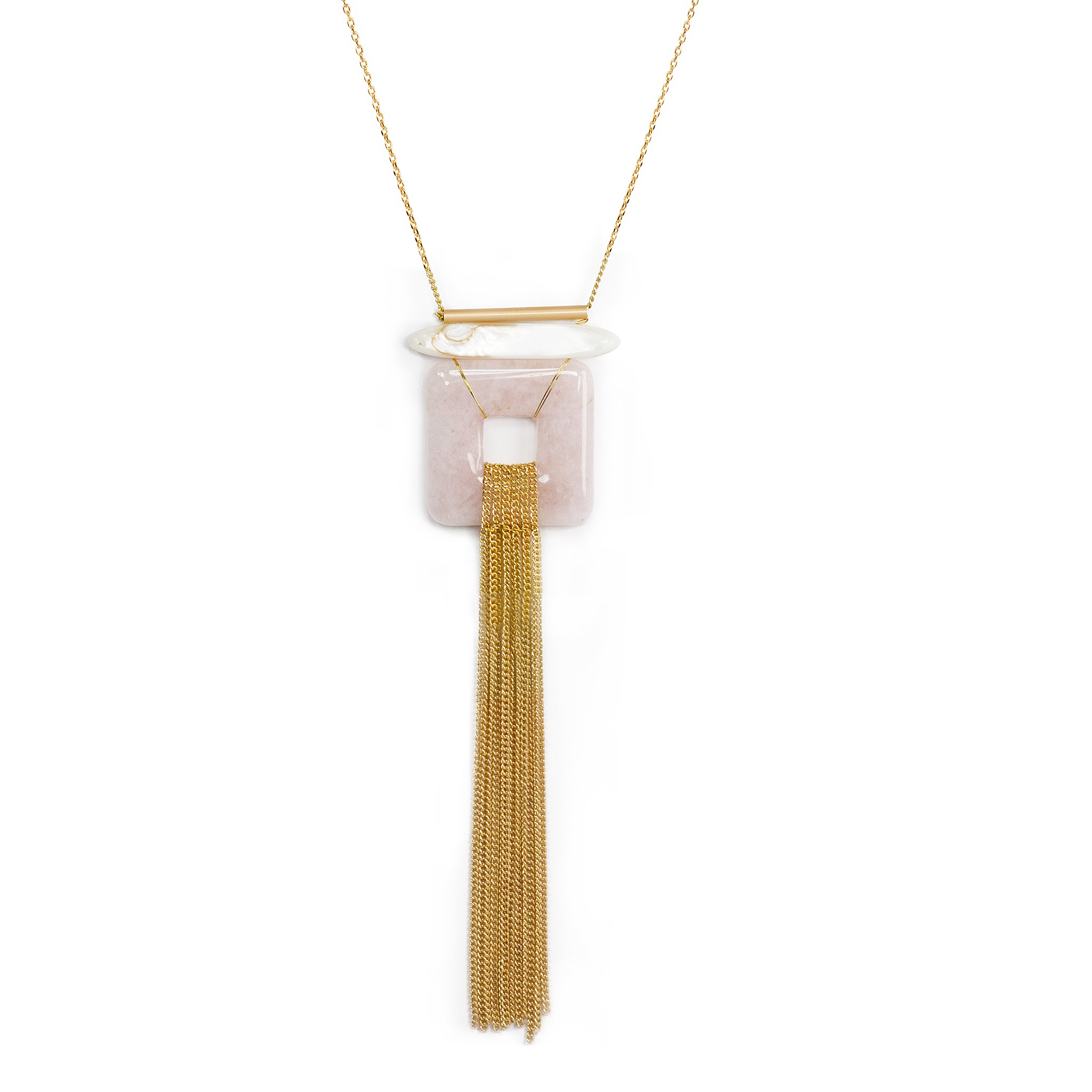 Geometric Square Chain Fringe Long Necklace