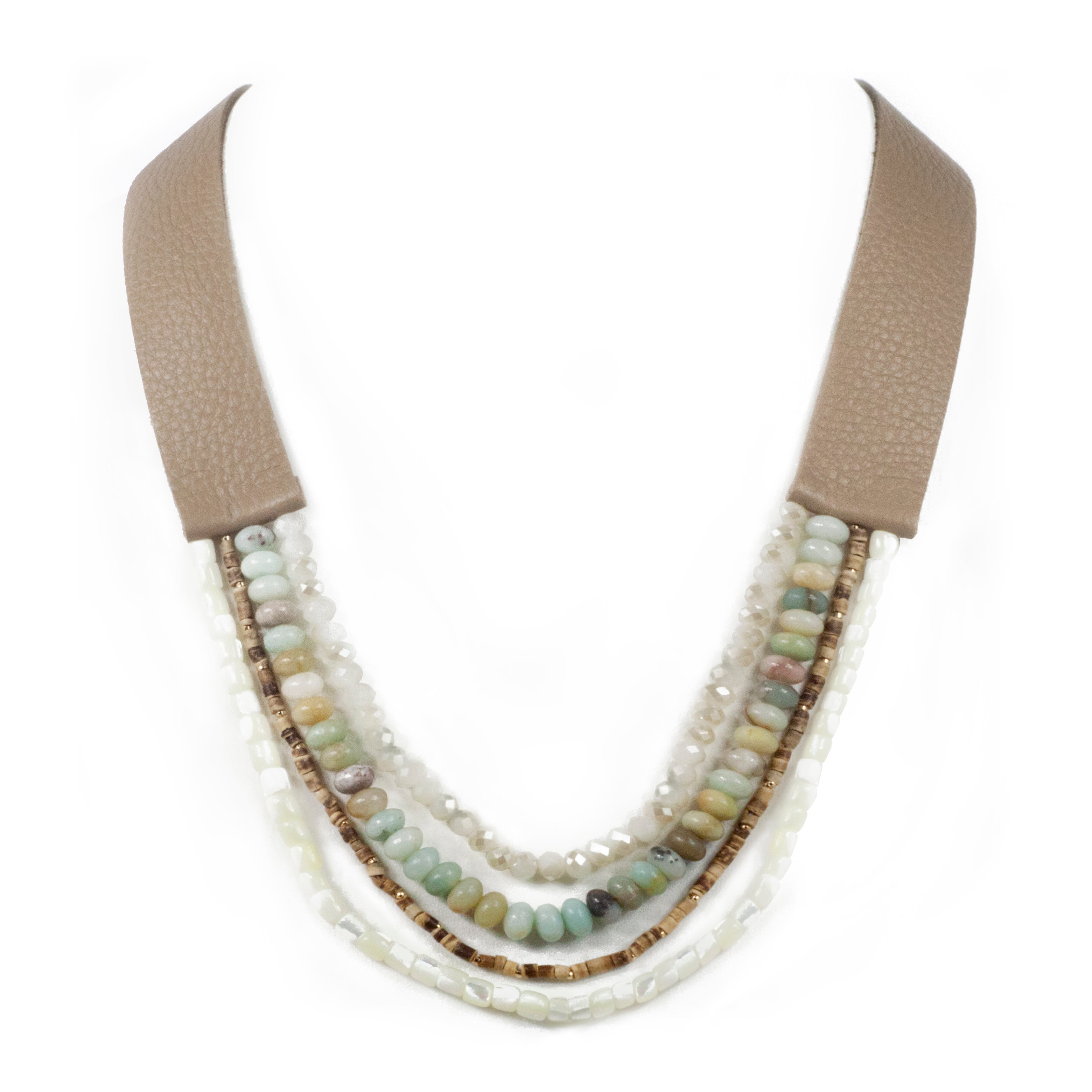 Multi Layered Semi Precious Stone Leather Strap Necklace