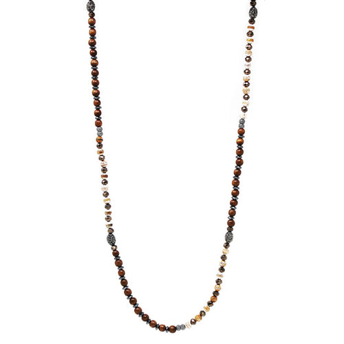 Wood And Natural Stone Beaded Long Neckace