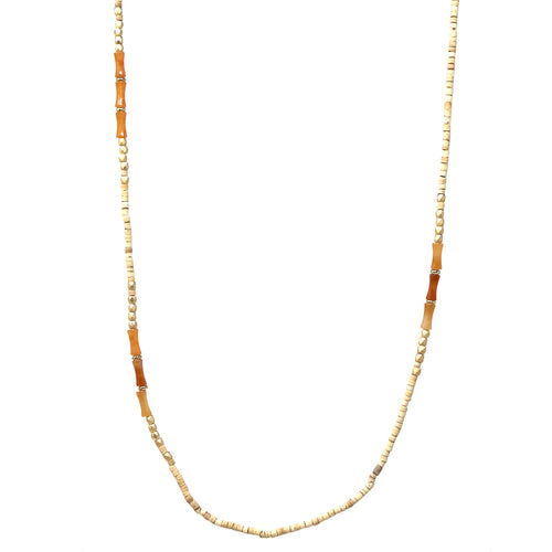 Wood Natural Stone Beaded Long Necklace