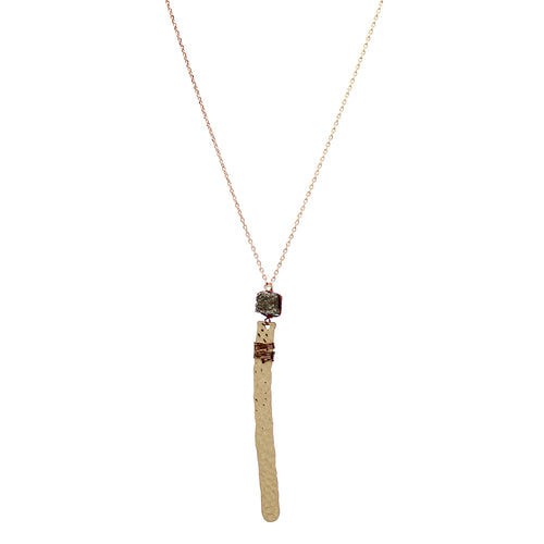 Hammered Finish Bar With Natural Stone Pendant Long Necklace