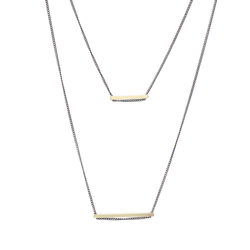 Sliding Metal Bar Double Layered Necklace