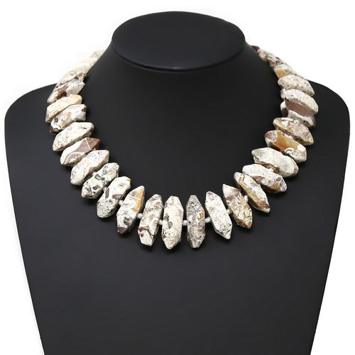 Pointed Natural Stone Beaded Short Necklace