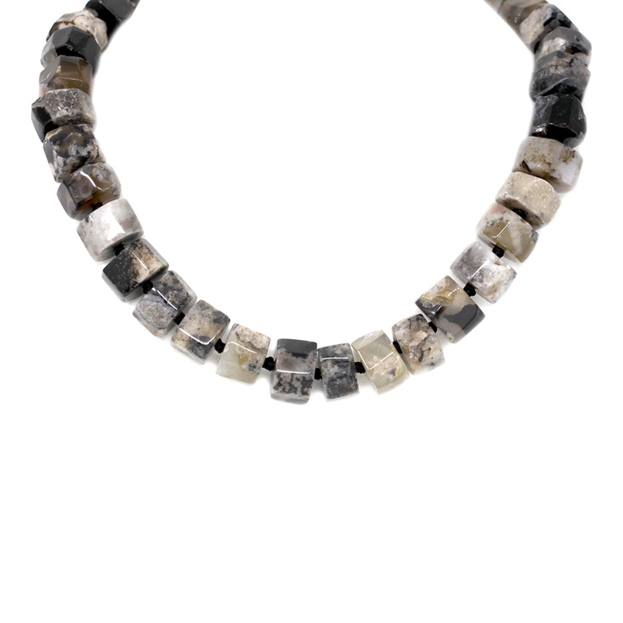 Faceted Tube Natural Stone Short Necklace