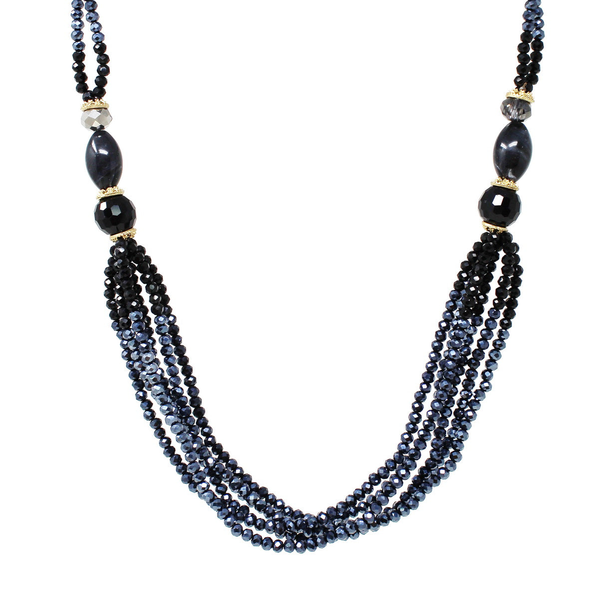 Glass Beaded Multi Strand Short Necklace