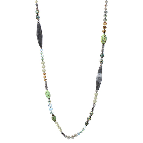Acetate/ Ceramic Bead With Glass Beaded Long Necklace
