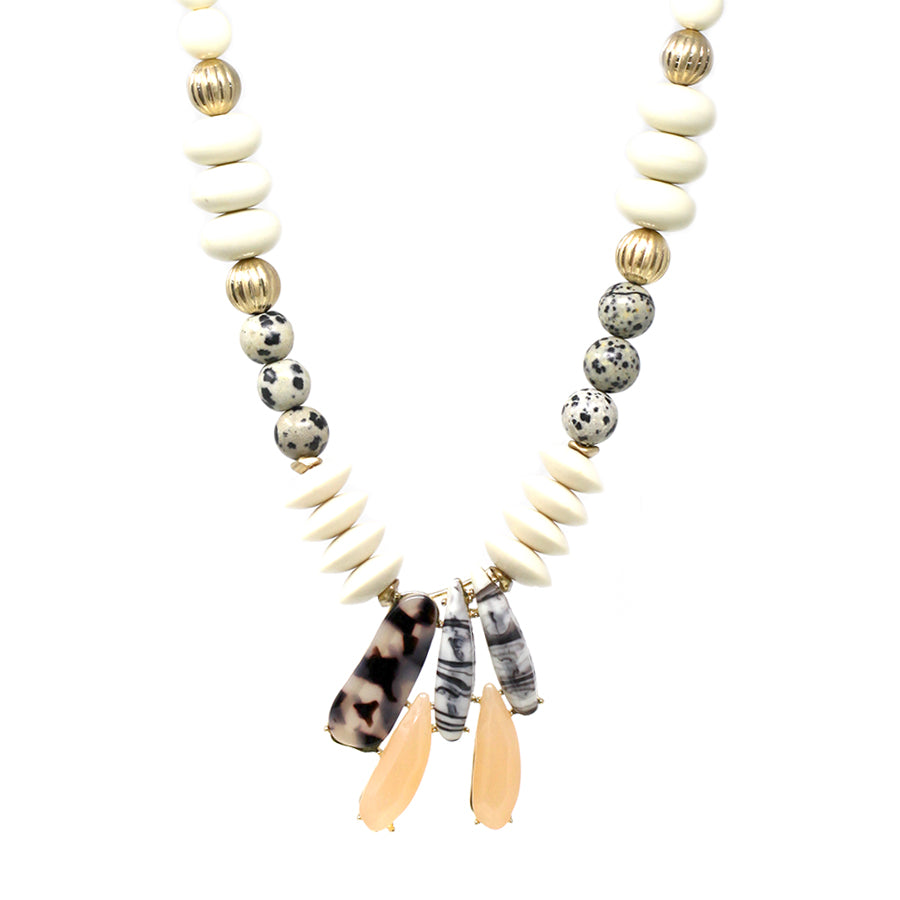 Dalmatian And Tribal Beaded With Acetate Pendant Short Necklace